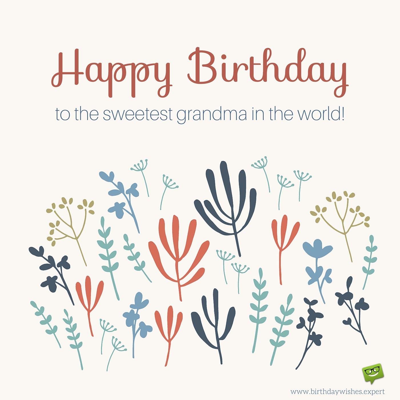 Happy Birthday Grandma, on image of cute leaves and
