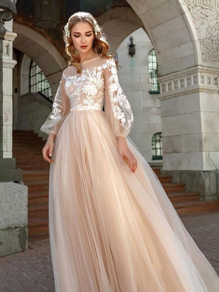 onlybridals ALine Puff Sleeve Wedding Gowns Boho Lace