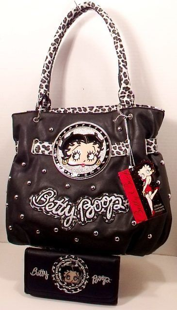 For All The Betty Boop Purse Shoulder Handbag Black Matching Wallet Rhinestones Studs Bettyboop Shoulderbag