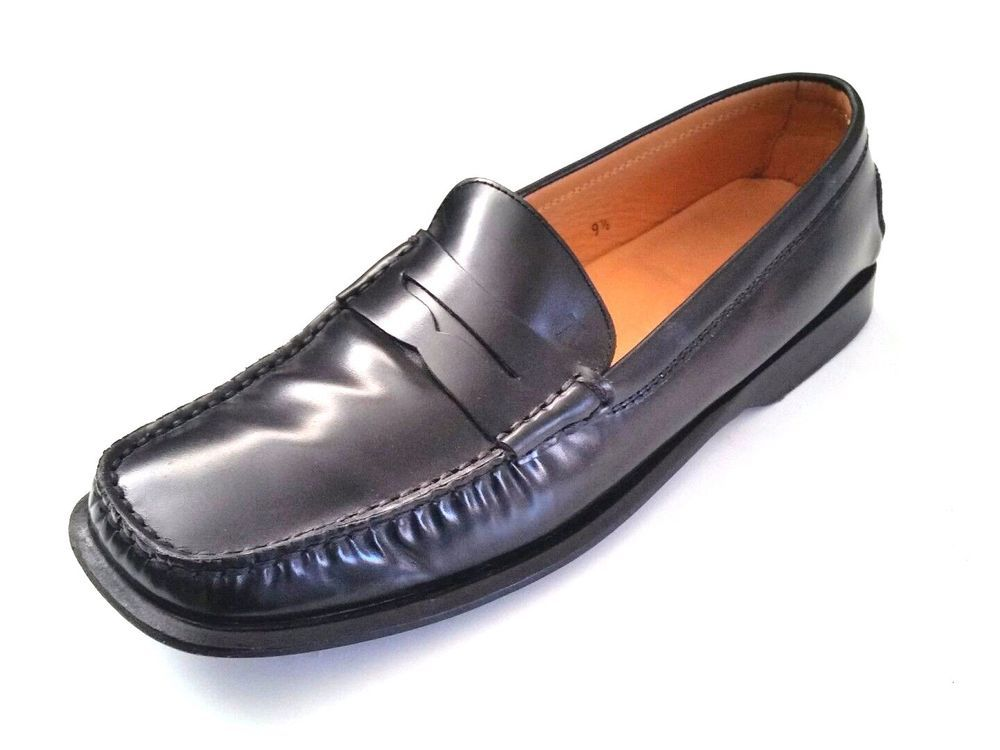TOD'S Black Penny Loafer Pumps Driving Shoes Leather 9.5 Moc Toe Slip On  Flats #Tods