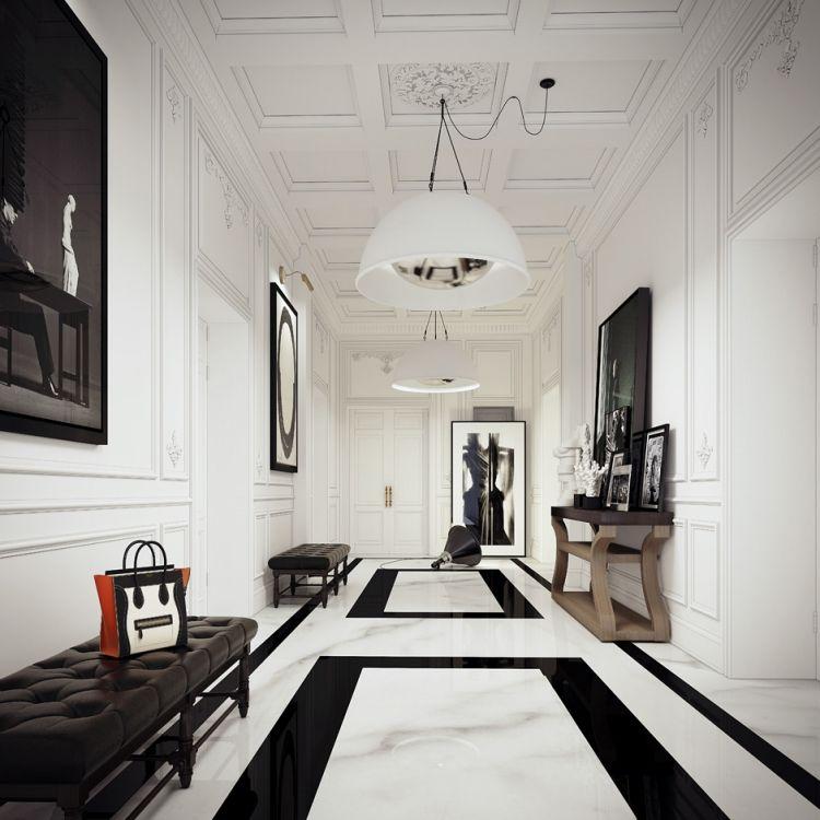 Klassik trifft modernes klassischer bodenbelag in schwarz wei und zeitgen ssische deko - Barock wohnzimmer modern ...