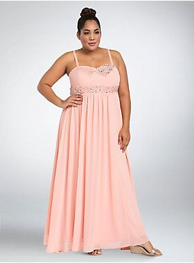 """<p>We've looked into the future and it's guaranteed; you'll be the belle of the ball with this head-turning gown. A strapless, column-inspired design, the pretty peach pink chiffon has major princess vibes, while the pleated bodice bejeweled with gemstone clusters is fit for a queen. A crisscrossing back and padded bust lend hints of sex appeal (for the after party).</p>  <ul> <li>Size 14measures 53 1/4"""" from shoulder</li> <li>Polyester</li> <li>Hand wash cold, dry flat</li> <..."""