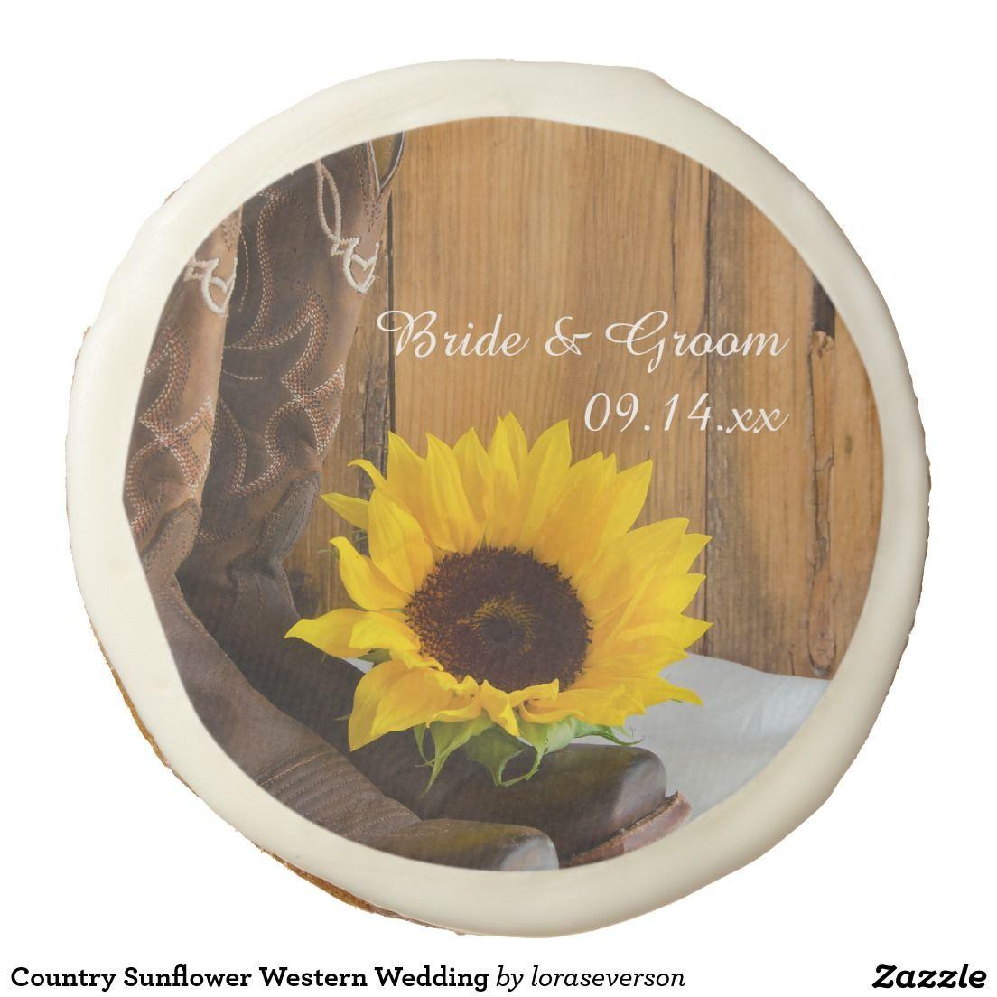 Country Sunflower Western Wedding Sugar Cookie