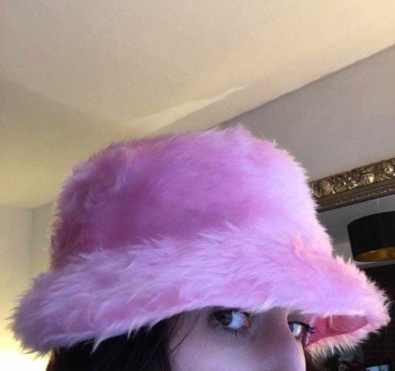 01ec0d2d Baby pink faux fur bucket hat unisex Pink Satin, White Satin, Pink Faux Fur