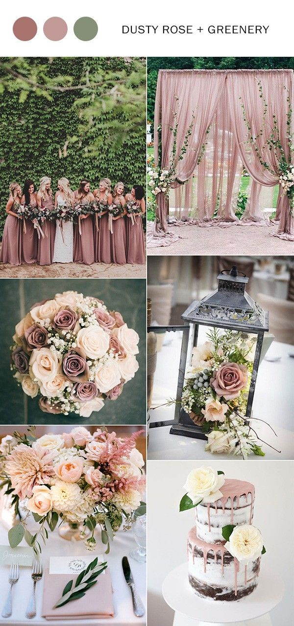 Top 10 wedding color ideas for 2018 trends verde rosas e casamento dusty rose and greenery wedding color ideas 2018 junglespirit Images