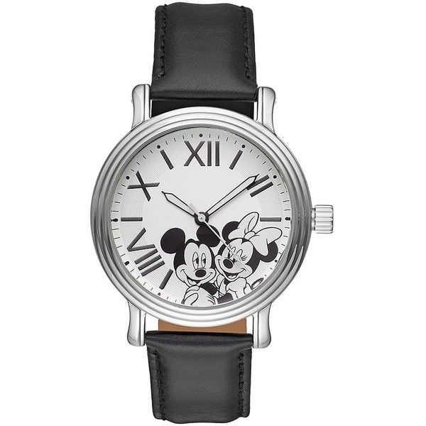 Disney's Mickey & Minnie Mouse Unisex Leather Watch (€45) ❤ liked on Polyvore featuring jewelry, watches, black, roman numeral watches, disney charms, disney watches, leather watches and charm watches