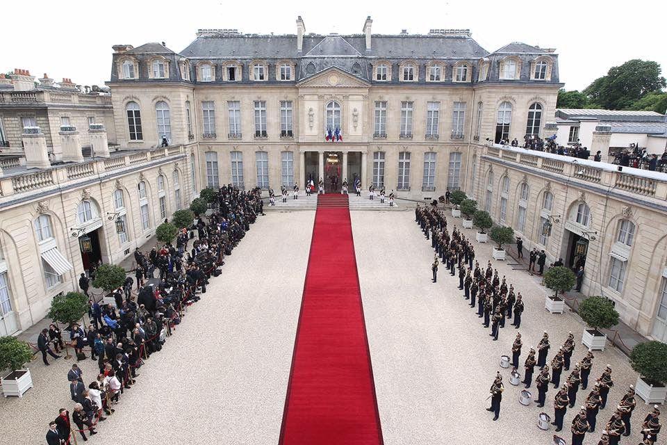 Paris, Palais de l'Élysée, 14 Mai 2017. Cérémonie d