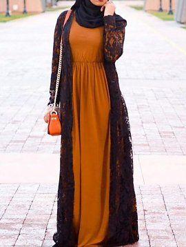 Maxi Jurk Basic.Basic Sleeved Maxi Dress Hijab Hijab Fashion Hijab Fashionista