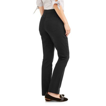 09556ec41 Petite RealSize Womens Stretch Denim Pull-On Bootcut Jeans, Size: XL  Petite, Black
