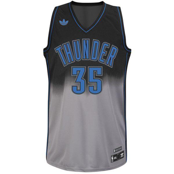 2aa52c08e oklahoma city thunder 35 kevin durant black gray fadeaway fashion jersey