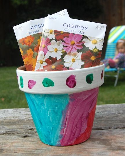 Use Crayola Paint to transform a flower pot into a beautiful Mothers Day Gift!