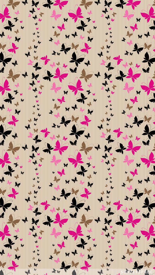 SnazzySpace Butterfly Stripes iPhone Wallpaper