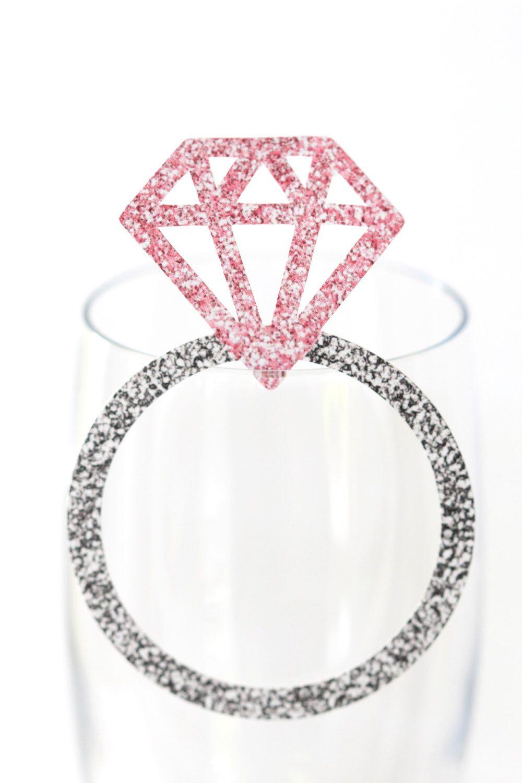 Diamond Ring Wine Glass Tags Bridal Shower Decor Rings Bachelorette