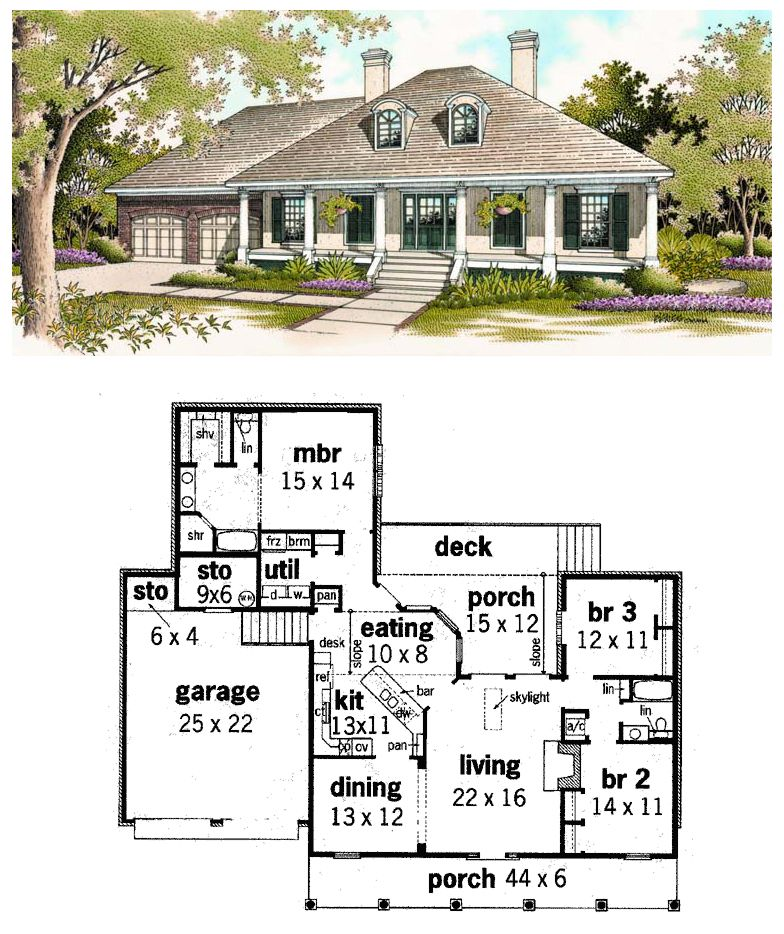 Southern Style House Plan 65625 With 3 Bed 2 Bath 2 Car Garage Colonial House Plans Southern House Plans Southern House Plan