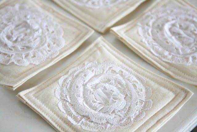 lace doily coasters
