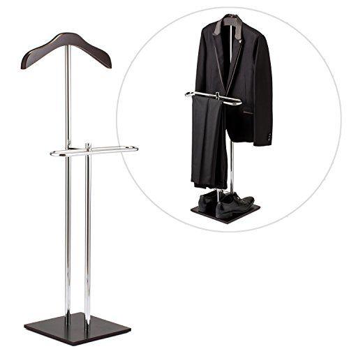 MyGift Brown Wood /& Metal Suit Valet Floor Stand//Garment Organizer Rack//Coat /& Pants Hanger