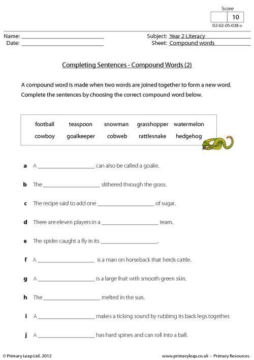 PrimaryLeapcouk Completing sentences compound words 2 – Sentence Completion Worksheets