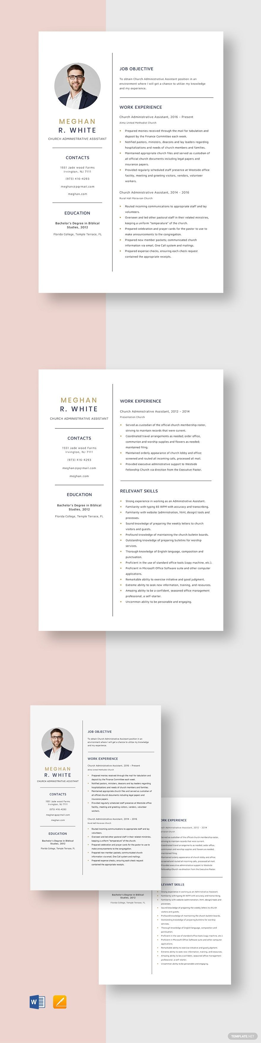Church administrative assistant resume template in 2020