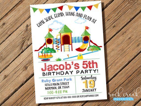Playground Invitation Playground Party Park Birthday Invitation
