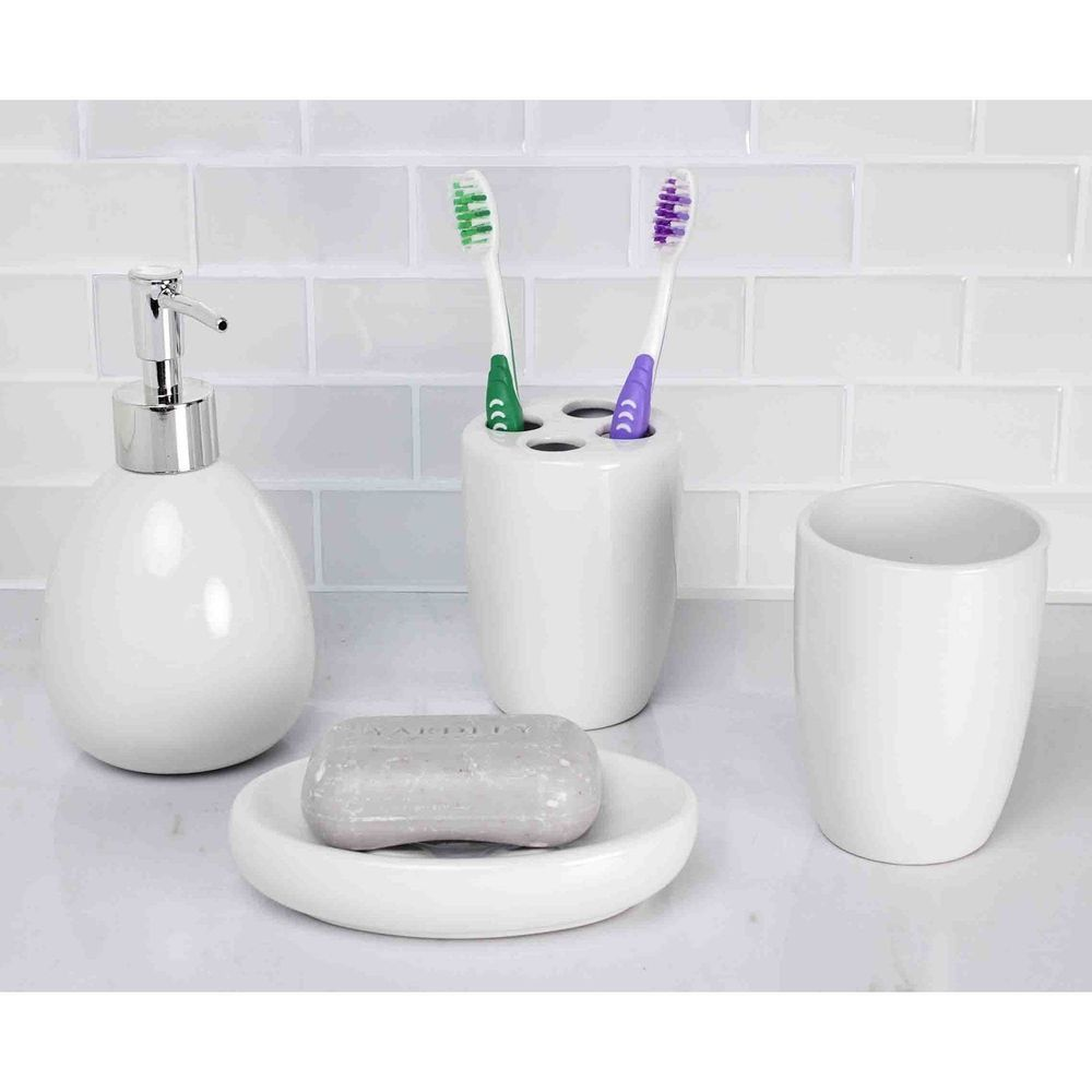 Soap Dish Liquid Dispenser Toothbrush Holder Tumbler Bathroom ...