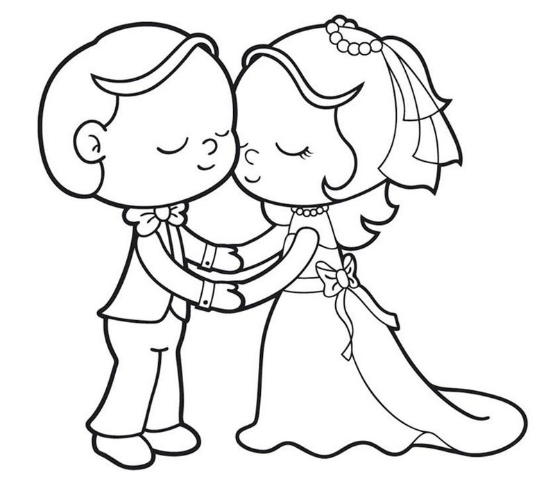 Romantic Bride And Groom Coloring Page For Kids Svadba Wedding