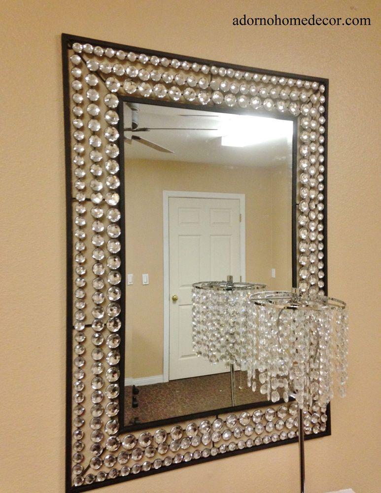 Large Metal Wall Crystal Jewel Mirror Rustic Modern Chic
