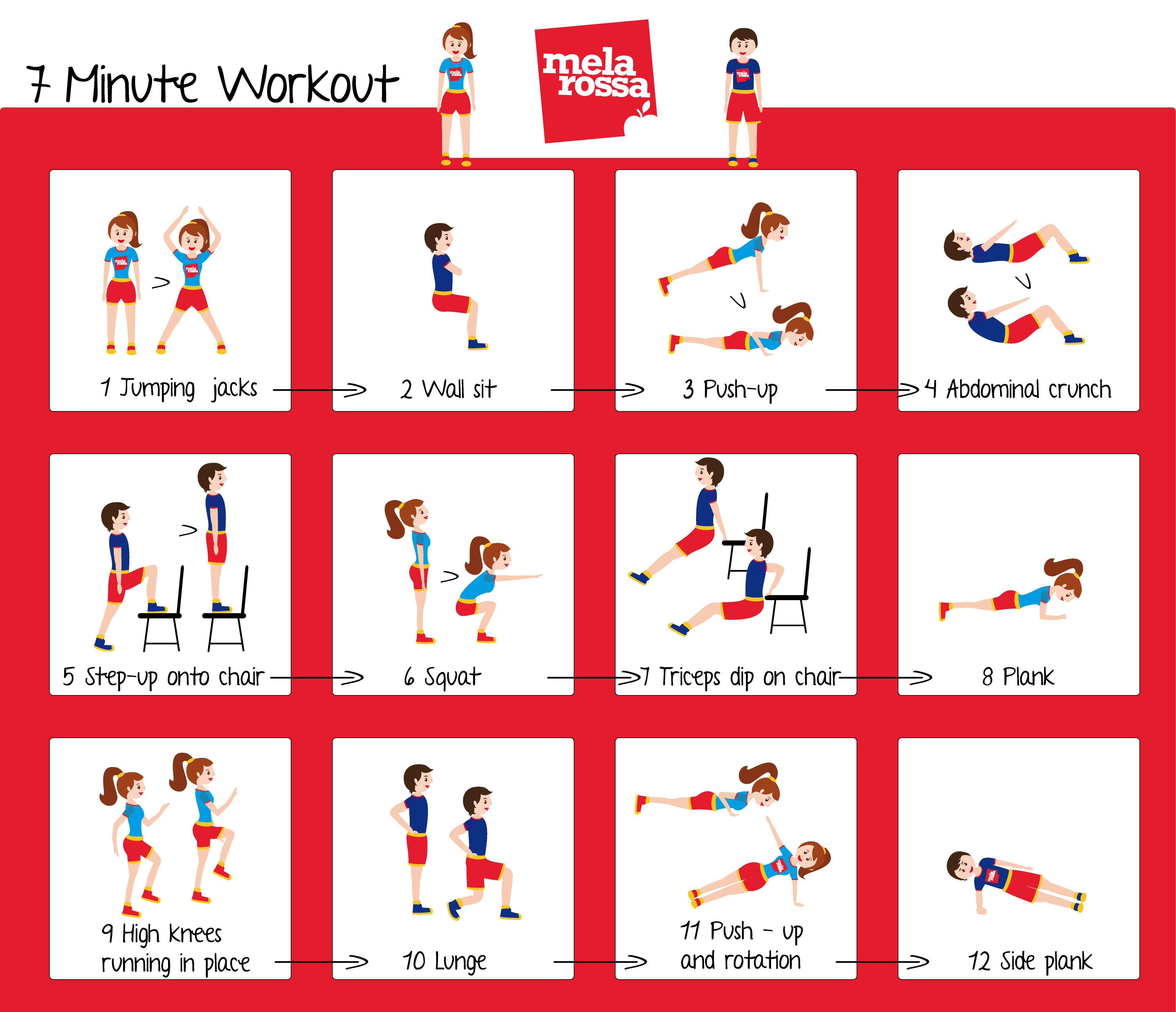 12 esercizi in 7 minuti per tonificarti! Esercizi