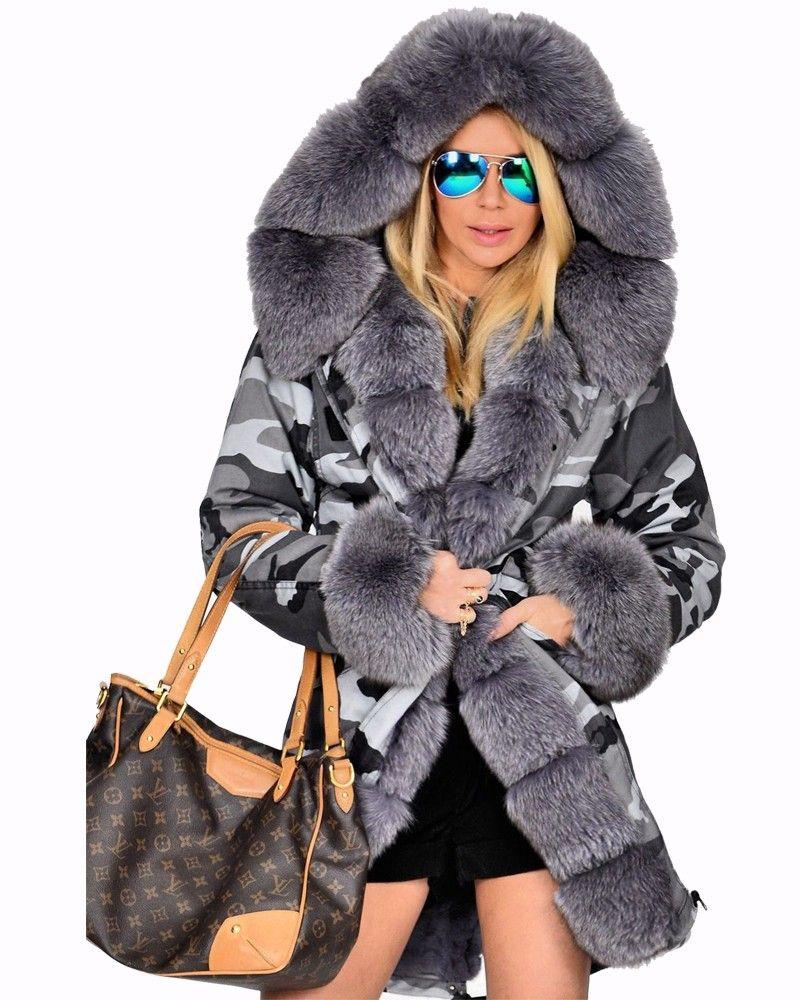 Roiii Winter Lady Plus Size Thick Luxury Faux Fur Coat Hood Parka ...