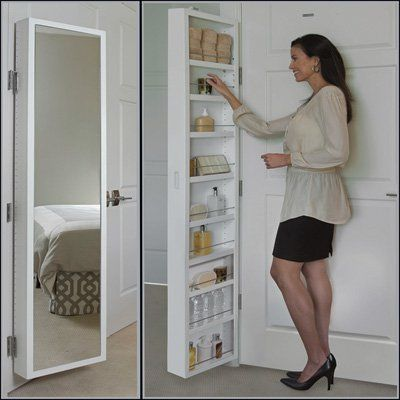 White Mirrored Classic Cabidor Behind The Door Storage In