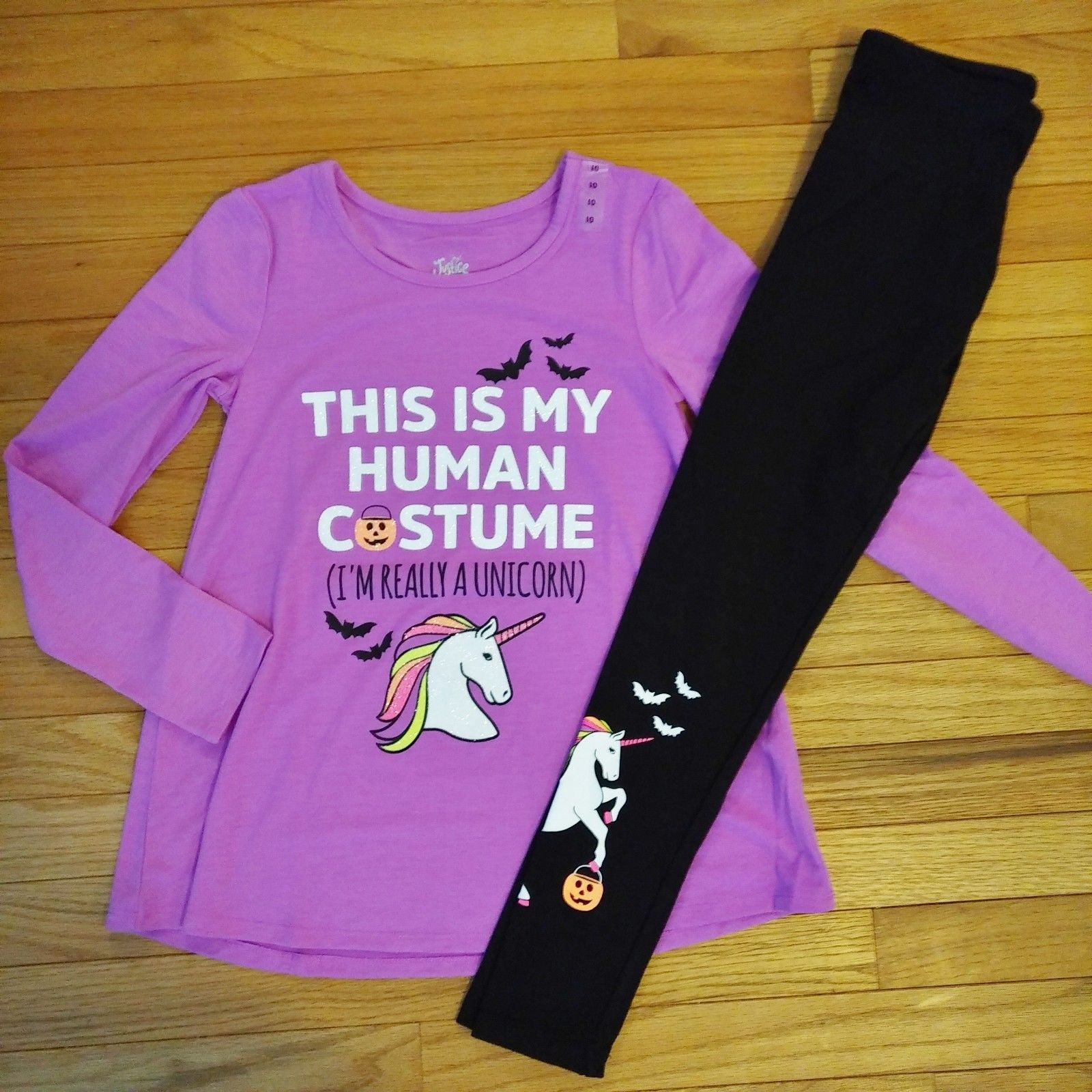Nwt Justice Unicorn Sequin Lace Up Long Sleeve Tee Velour Leggings Size 10 Set