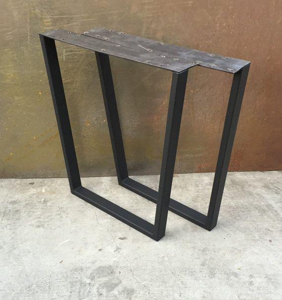 Metal Table Legs Taper Set Of 2 Etsy Metal Table Metal Table