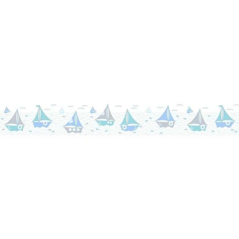 Dinki Balloon Kinderzimmer Bordüre Schiffchen blau/mint
