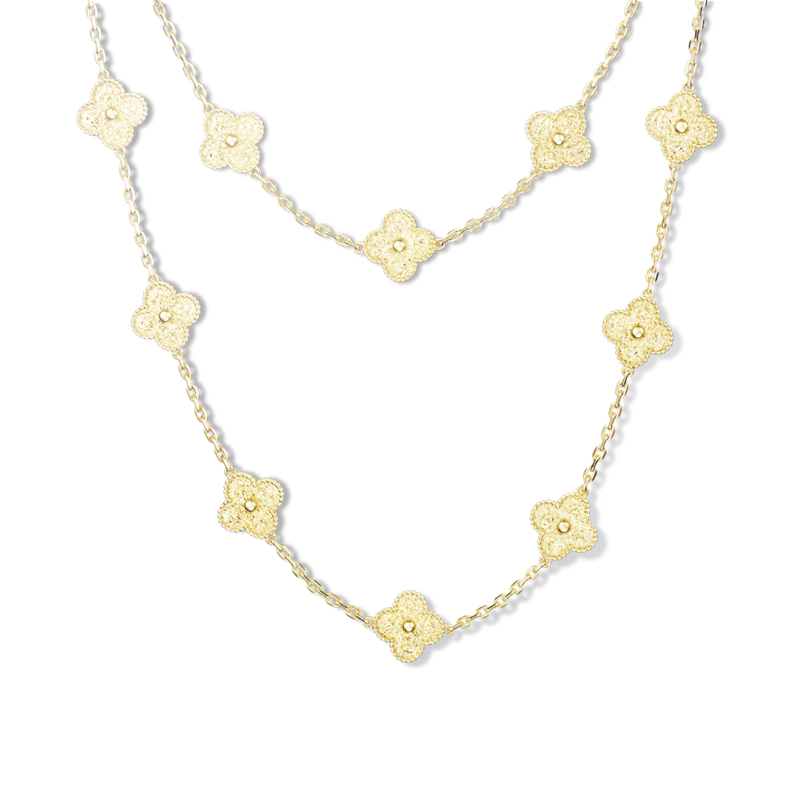With its celebrated round bead setting, the Vintage Alhambra collection remains true to the design which launched the iconic motif in the 1960s.  Composed of 20 motifs and glowing with the lustre of yellow gold, this elegant necklace may be worn in one or two rows. | Van Cleef & Arpels