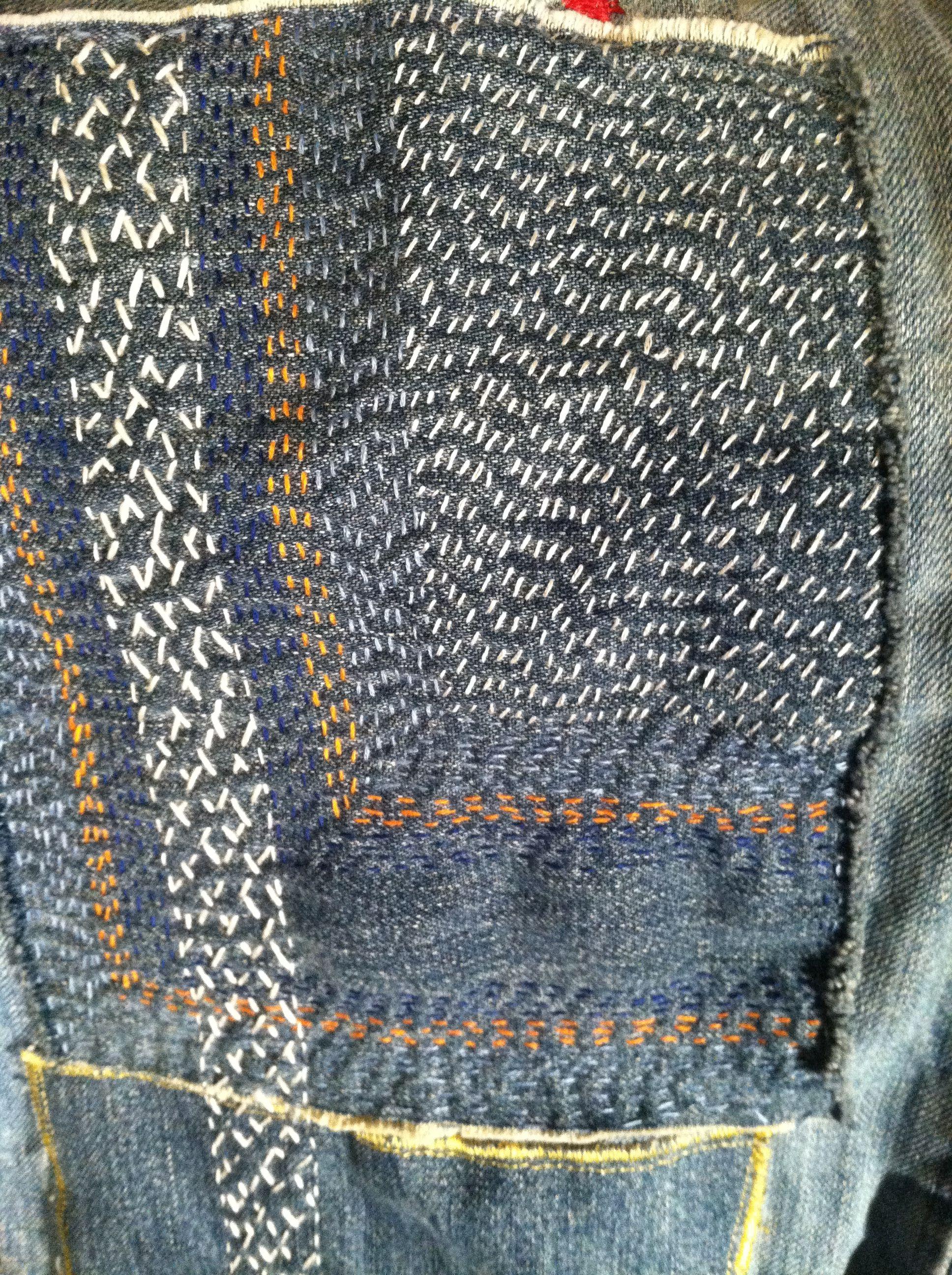 Sashiko repair to some old jeans sashiko pinterest for Old denim