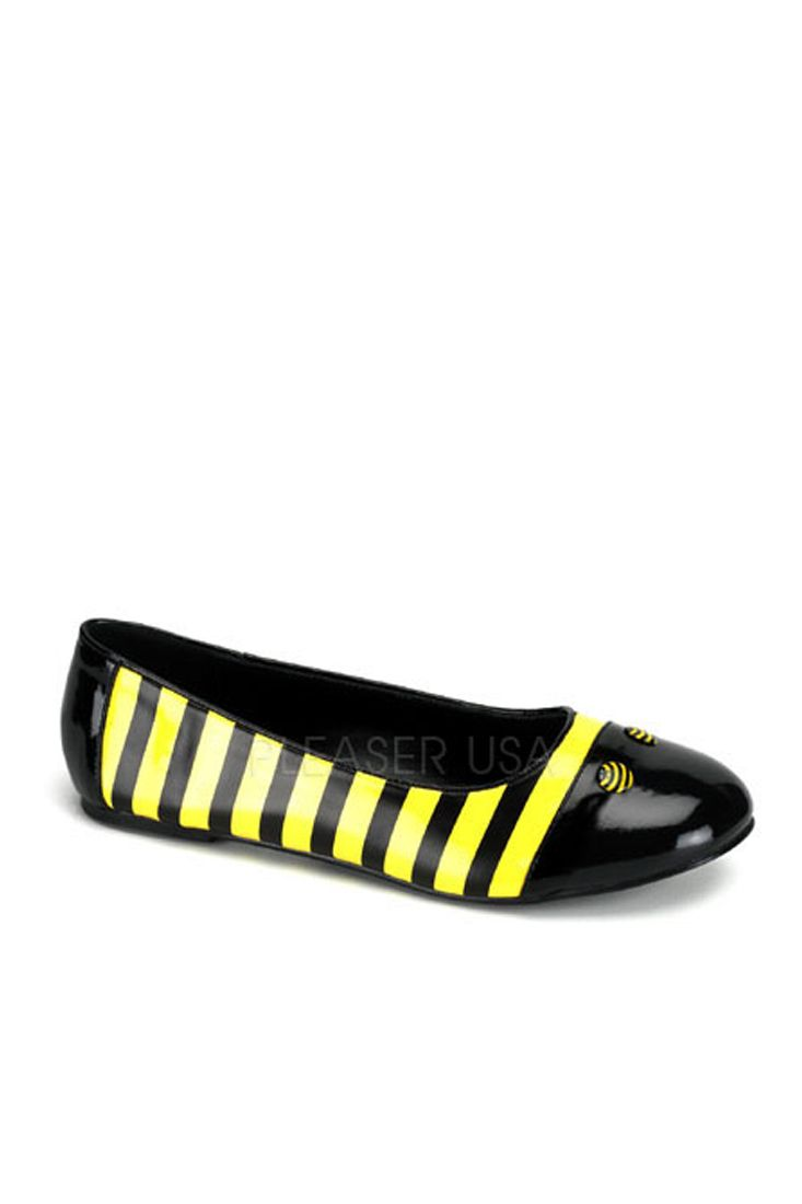 Black Yellow Bumble Bee Ballet Flats Patent: The features for these bumble bee ballet flats… #SexyClothes #SexyDresses #SexyPlusSizes