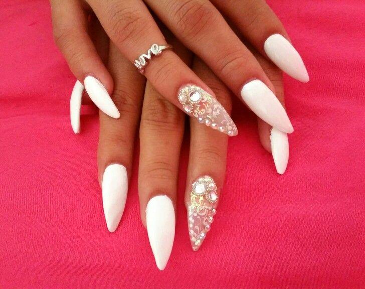 White Stiletto Nails Stamp With Diamonds Diamond Nail Designs