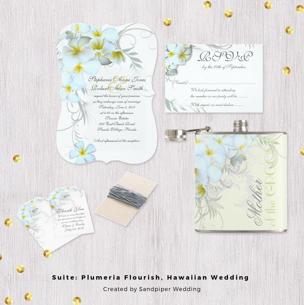 Plumeria flourish wedding stationery with a Hawiian floral design of ...