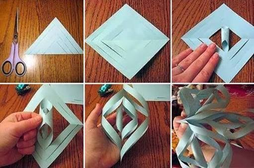 To make pretty paper craft 3d snowflakes step by step diy for Paper craft step by step