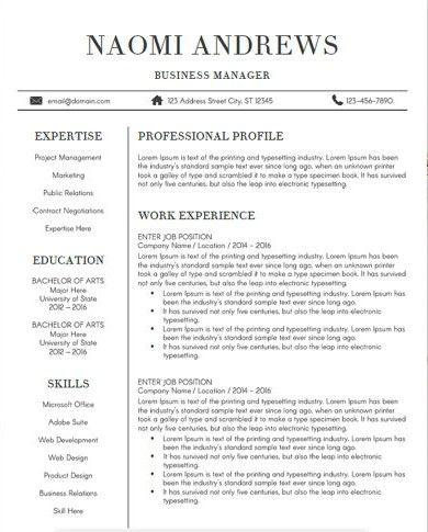 8 CV Templates That Will Get You The Job Cv template - business manager job description