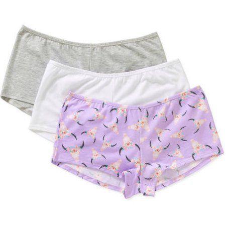 No Boundaries New Girl Junior Cotton Stretch Boyshort Panty, 3 pack, Size: 5, White