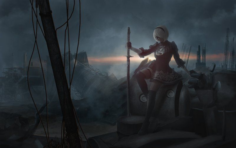 Wallpaper Dark 2b Warrior Nier Automata ニーア