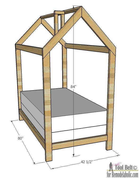 Free plans to build a kids bed inspired by this unique house frame – House Frame Floor Bed Plans