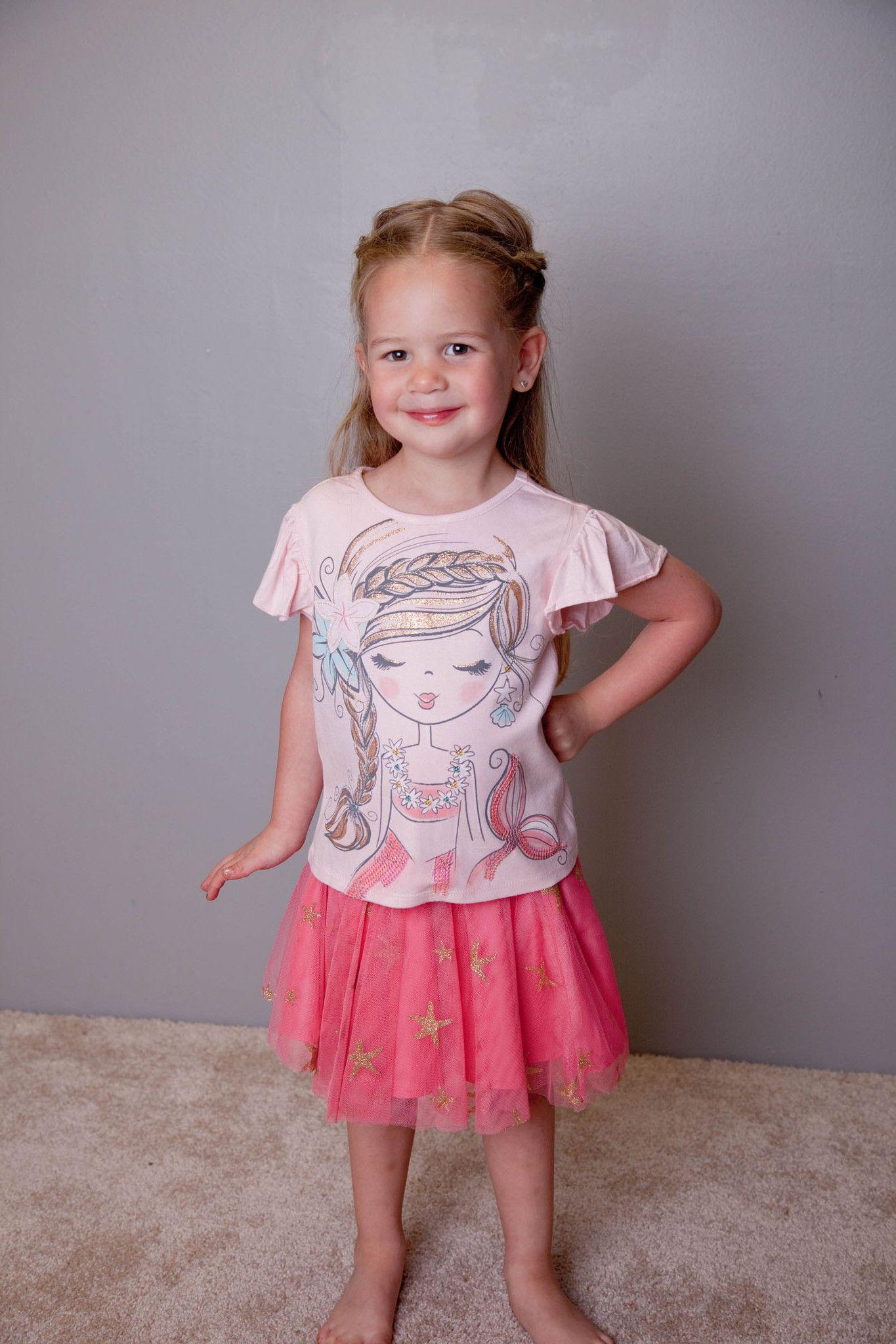 Petit lem sea princess mermaid skirt set sz spring