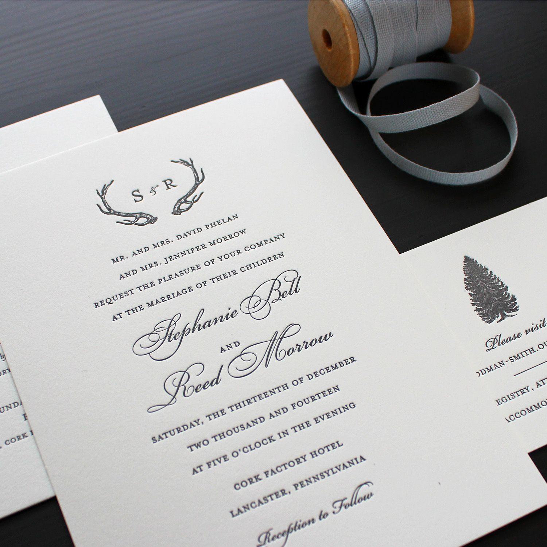 Rustic Winter Letterpress Wedding Invitation 2 Jpg Stationary
