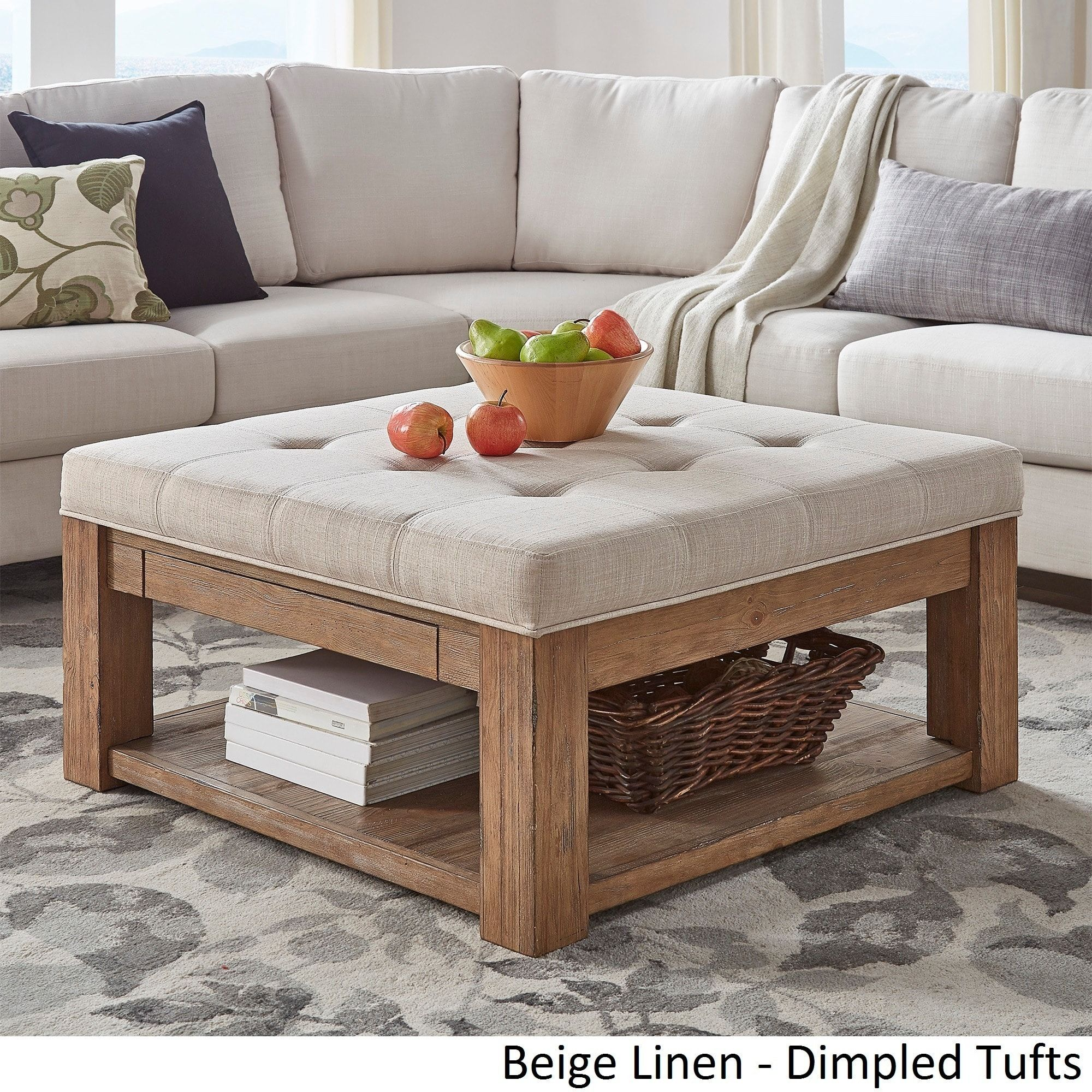 Lennon Pine Square Storage Ottoman Coffee Table by iNSPIRE Q Artisan  ([Beige Linen]