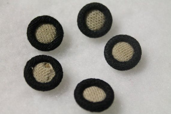 """Vintage Fabric Buttons, Handy Brand, 5/8"""", metal shank backs, pack of 5  #vintage #buttons #crafts #sewing"""