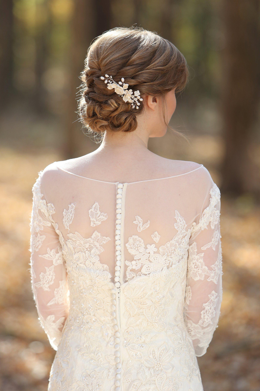 Sheer back lace detail sleeve wedding dress wedding pinterest