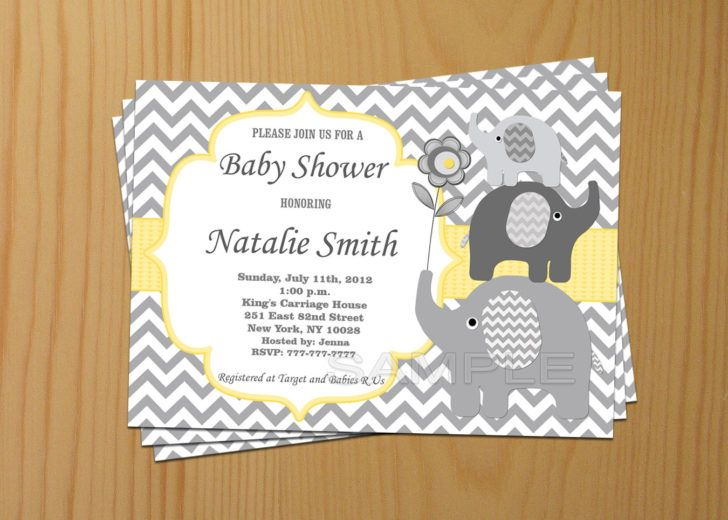 Neutral Yellow Grey Chevron Baby Shower Invitation Elepha Elephant Baby Shower Invitations Boy Chevron Baby Shower Invitations Elephant Baby Shower Invitations