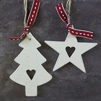 Whitewashed Wooden Christmas Tree Decorations