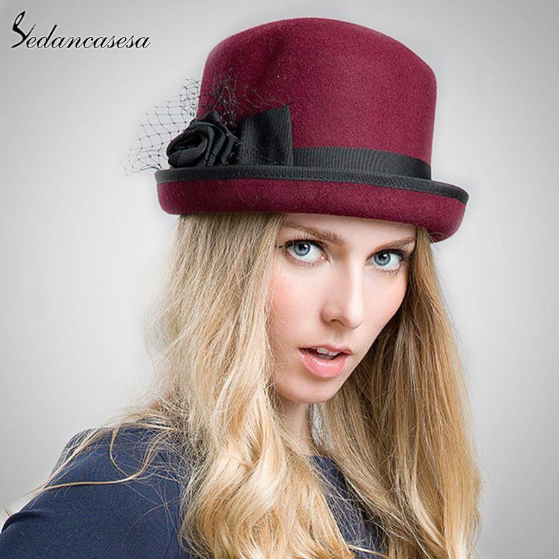 3a1fe04c427 100% Wool From Australian Cloche Fedora Hat For Women Round Brim Soft Hat  Floopy Fedora